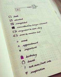 Bullet journal key symbols ♡ #bulletjournal