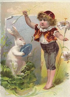 Easter Bunny Card White Lilies - Boy Pokes White Rabbit with Egg - Vintage Style Vintage Cards, Vintage Postcards, Vintage Images, Vintage Ephemera, Boy Illustration, Illustrations, Easter Art, Easter Bunny, Lion Coffee