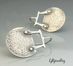 Silver Tribal Earrings, Sterling Silver, Handmade, Metalsmith, Metalwork, Artisan Jewelry, Statement Earrings by LjBjewelry on Etsy