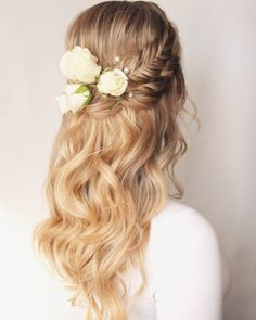 Braided wedding hair with real flowers