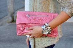 Pink Balenciaga Clutch <3