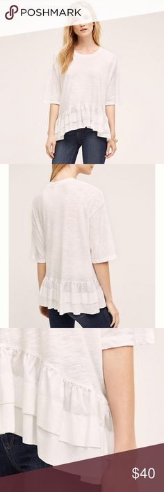 """Anthropologie Cascade Peplum Top DO NOT PURCHASE By Akemi + Kin Cotton Pullover styling Hand wash Regular: 27""""L.   Avail 3/28. """"Like"""" to be notified. Anthropologie Tops"""