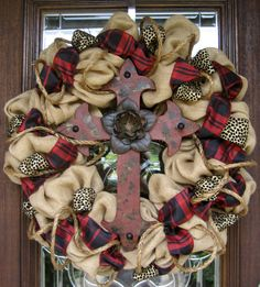 30 Natural Jute BURLAP Wreath with RED CROSS and Silk by decoglitz
