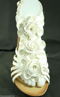 Wedge Sandals Black White Flower Low Heel Beach Shoes Party Wedding Casual New #Ideal #Wedge #Casual