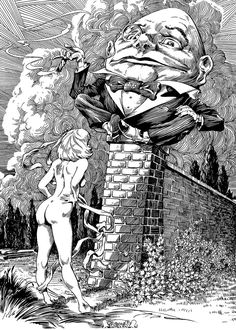 Frank Brunner - Alice and Humpty Dumpty  ~~ Considering her constant growing and…