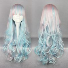 028 lolita wavy long cosplay wig ($10) ❤ liked on Polyvore featuring beauty products, haircare, hair styling tools, hair, hair styles and hairstyles
