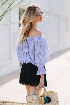 Stripe off the shoulder bow top + lace shorts + woven beach tote