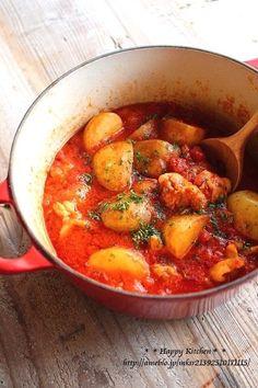 ほったらかし*ゴロゴロ新じゃがとチキンのトマト煮   たっきーママ オフィシャルブログ「たっきーママ@happy kitchen」Powered by Ameba