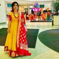 Yellow and Red. Know as Part Pasapu and kumkum an Long Gown Dress, Sari Dress, Anarkali Dress, Anarkali Suits, Long Anarkali, Anarkali Gown, Long Gowns, Lehenga Blouse, Half Saree Designs