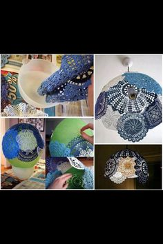 Creative lamp shade with lace doilies