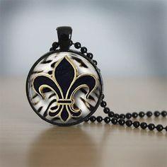 Glass Tile Necklace New Orleans Saints Fleur de by bluerosebeadery, $10.00