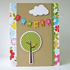 Super cute card on Card-Blanc by Kathy Martin. Love how she used two different styles of stitching!