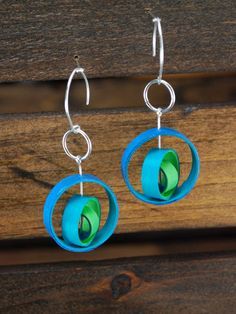 Paper Earrings / Lightweight Earrings / Paper Jewelry / Eco Friendly Jewelry / 1st Anniversary Gift - Orbium II