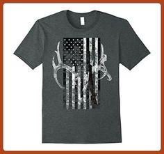 Mens Hunting Deer Skull flag t-shirt Hunters 2XL Dark Heather - Cities countries flags shirts (*Partner-Link)