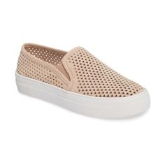 Women's Steve Madden Gills Perforated Slip-On Sneaker ($80) ❤ liked on Polyvore featuring shoes, sneakers, natural suede, steve madden footwear, suede slip-on sneakers, pull on shoes, slip-on sneakers and slip on shoes