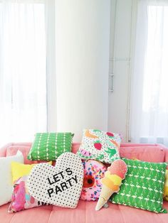 Studio DIY's pillow collection with the Oh Joy ice cream pillow! esp love the ice cream pillow . Cream Pillows, Diy Pillows, Decorative Pillows, Throw Pillows, Patio Pillows, Jolie Photo, Happy Weekend, My Room, House Colors