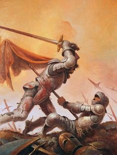 """Art by Gino D'Achille: """"And when Sir Mordred felt he had his death's wound he thrust himself with the might that he had up to the bur of King Arthur's spear."""" - Sir Thomas Mallory, Le Morte D'Arthur Fantasy Battle, Fantasy Warrior, Dark Fantasy Art, Medieval Knight, Medieval Fantasy, Fantasy Character Design, Character Art, Medieval Drawings, Roi Arthur"""