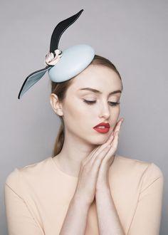Sophie Beale Millinery | Bubble Gum Percher | Blue and Pill Box Hats | LOVEHATS.COM