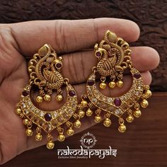 Jewelry OFF! Shop Ultimate Gold Plated Pure Silver Earrings Collections Here! Gold Jhumka Earrings, Indian Jewelry Earrings, Silver Jewelry Box, Jewelry Design Earrings, Silver Jewellery Indian, Gold Earrings Designs, Gold Jewellery Design, Antique Earrings, Silver Jhumkas