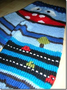 """I don't love it in combination with the monster pants but wouldn't this """"road"""" idea be cute at the bottom of a plain sweater? Maybe even use car buttons instead of stiches. Baby Knitting Patterns, Little People, Diy For Kids, Ladybug, Free Pattern, Knit Crochet, Creative, Cute, Children"""
