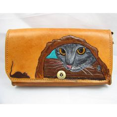Kitty - Leather Clutch Purse on Etsy, $89.00
