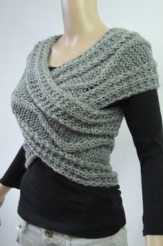 Hand knit vest Cross Sweater Capelet Neck warmer in by MaxMelody
