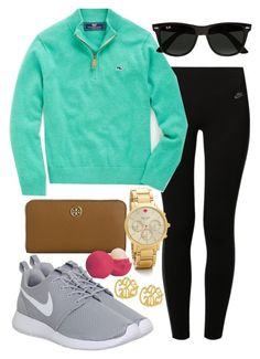 """Em.M.T. #80"" by thefloridianprep ❤ liked on Polyvore featuring NIKE, Vineyard Vines, Tory Burch, Kate Spade, Eos and Ray-Ban"
