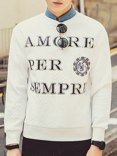 Round Neck Letter Embroidered Argyle and Flower Emboss Long Sleeve Sweatshirt For Men
