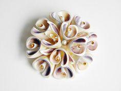 Large Vintage Shell Rhinestone Flower Brooch by GrandVintageFinery, $10.00