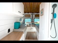 """Another van build is complete! We are so happy with the way Ethan's 2016 170"""" Mercedes Sprinter Van conversion turned out. Here are a few features of his van build with the """"Outdoorsman"""" layout: * Mini Garage for bike storage * Convertible table/bed area allows for a place to work and eat * Full bathroom with shower and toilet * Ample storage in custom built cabinetry * Fully powered by 300 watts of solar, a 300ah lithium ion battery bank and 3000 watt inverter Van Conversion Bathroom, Van Conversion Layout, Van Conversion Interior, Sprinter Van Conversion, Camper Van Conversion Diy, Camper Furniture, Convertible Bed, Tiny House Trailer, Campervan Interior"""