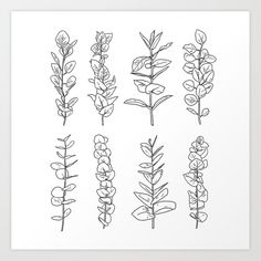 Eucalyptus Leaves Collection Art Print by Alida Loubser - X-Small Small Forearm Tattoos, Small Flower Tattoos, Dainty Tattoos, Cute Small Tattoos, Pine Tattoo, Crystal Tattoo, Botanical Tattoo, Future Tattoos, Eucalyptus Leaves