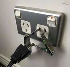 "Need an adaptor? ""Safely"" improvise with some nail clippers. 