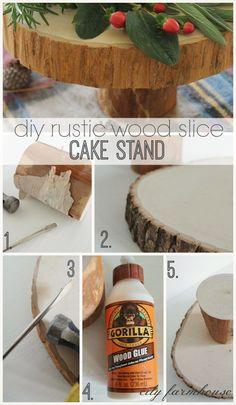 DIY Rustic Wood Cake Stand