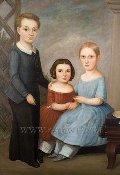 Portrait of Three Children  American School  Mid 19th Century
