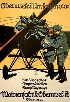 WA93-Vintage-WWI-German-Aviation-Motorenfabrik-Oberursel-Poster-WW1-A1-A2-A3-A4