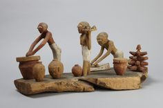 Egyptian, Middle Kingdom , 12th Dynasty Tomb model of baking and brewing, 1991 – 1786 B.C. Painted wood