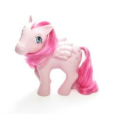 This vintage G1 My Little Pony is Heart Throb, she's a pink pegasus with dark pink hair and blue eyes. Her symbol is four pink hearts with glittery silver wings. Heart Throb first appeared in Year 3 o
