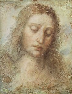 """LEONARDO DA VINCI. Study for the Head of Christ for the Last Supper, 1495, drawing on paper. """""""