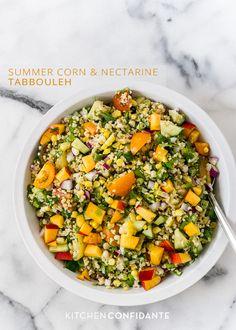 Summer Corn and Nectarine Tabbouleh | @Lisa Lear Baker | Kitchen Confidante  www.kitchenconfidante.com