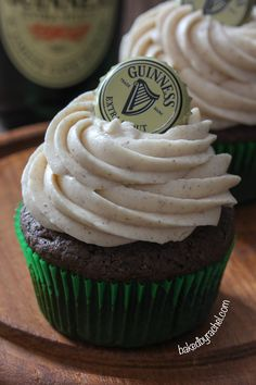 Guinness Chocolate Cupcakes with Cinnamon Cream Cheese Frosting Recipe from bakedbyrachel.com