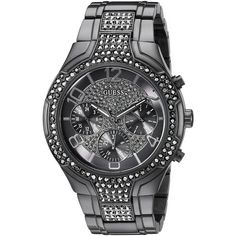 GUESS Women's U0628L5 Oversized Black Multi-Function Watch with... ($174) ❤ liked on Polyvore featuring jewelry, watches, guess jewelry, guess watches, oversized wrist watch, guess jewellery and oversized watches