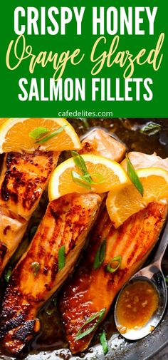 Crispy Honey Orange Glazed Salmon Fillets are the perfect weeknight dinner or even light lunch to serve up. This is my go-to salmon recipe. #salmon #orange #glazed #crispy #honey #salmonfillet Orange Recipes, Salmon Recipes, Seafood Recipes, New Recipes, Favorite Recipes, Easy Delicious Recipes, Amazing Recipes, Grilling Recipes, Cooking Recipes