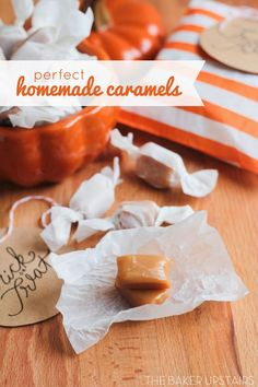 the baker upstairs: perfect homemade caramels Candy Recipes, Fall Recipes, Sweet Recipes, Holiday Recipes, Baking Recipes, Cookie Recipes, Dessert Recipes, Yummy Recipes, Homemade Candies
