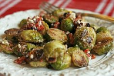 Brussels Sprouts with Feta, Red Peppers, and Bacon