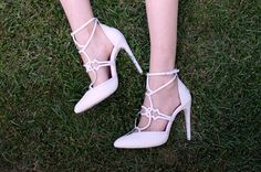 Jamila white snakeskin pumps with thin white leather straps and clear PVC toe insert Designer Shoe Blog - Shoerazzi