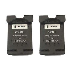 Remanufactured Ink Cartridge for HP 62XL use in HP Officejt 5745 (2 Black)