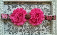 Pink Brown Camo double shabby flower headband with glitter button. Baby, girl, teen headband.