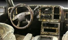 Mossy oak camo truck interior .