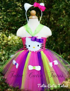 Hello Kitty Tutu Dress with Ear Headband NB-7 by TutieCutieTutus, $40.00+