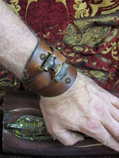 """Viking """"Thors Hammer"""" Leather Studded Cuff"""